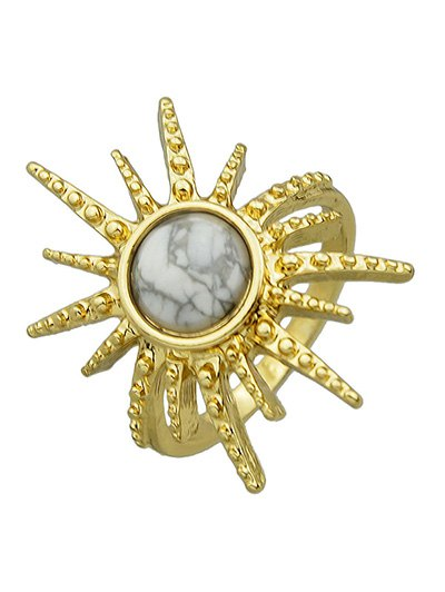 Faux Gemstone Sun Ring - WHITE ONE-SIZE Mobile