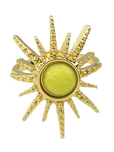 Faux Gemstone Sun Ring - YELLOW ONE-SIZE Mobile