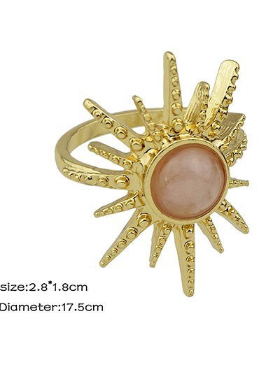 Faux Gemstone Sun Ring - PINK ONE-SIZE Mobile