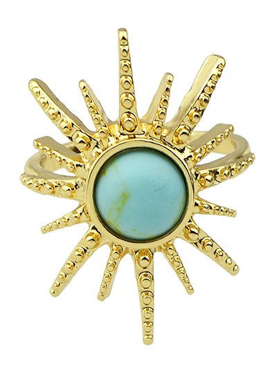 Faux Gemstone Sun Ring - LIGHT BLUE ONE-SIZE Mobile