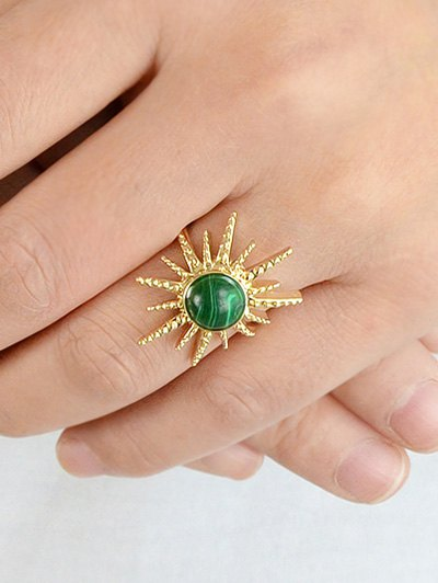 Faux Gemstone Sun Ring - GREEN ONE-SIZE Mobile