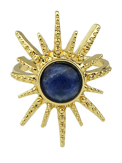 Faux Gemstone Sun Ring - DEEP BLUE ONE-SIZE Mobile