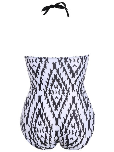 Argyle Plus Size Fringe Swimwear - MULTICOLOR XL Mobile