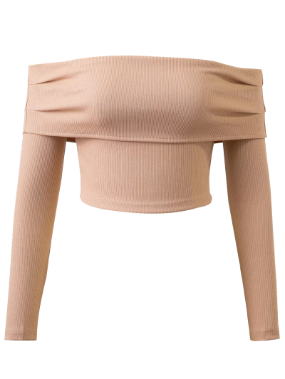 Long Sleeved Off The Shoulder Top - YELLOWISH PINK S Mobile