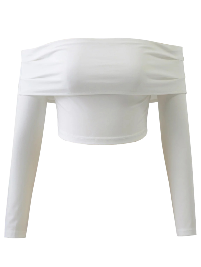 Long Sleeved Off The Shoulder Top - WHITE M Mobile