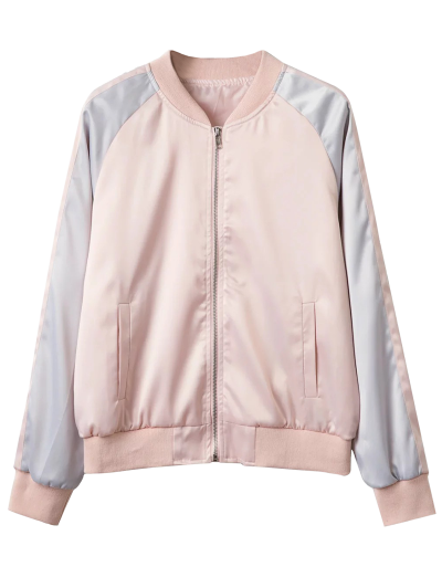 Glossy Satin Bomber Jacket - PINK L Mobile