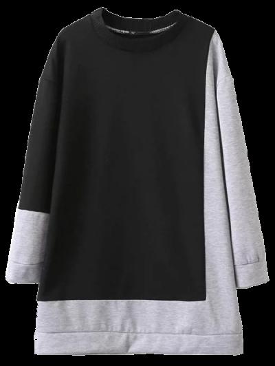 Two Tone Oversized Sweatshirt Dress - BLACK AND GREY L Mobile