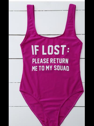 If Lost Letter Swimwear - PURPLISH RED XL Mobile