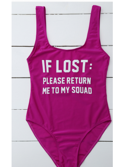 If Lost Letter Swimwear - PURPLISH RED S Mobile