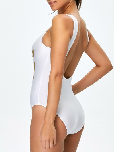 Birthday Slay Letter Swimwear - WHITE S Mobile