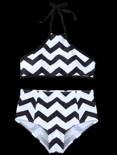 Chevron Stripe Halter Bikini - WHITE AND BLACK L Mobile