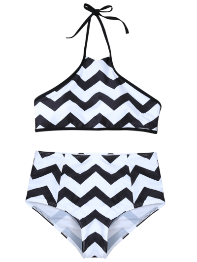 Chevron Stripe Halter Bikini - WHITE AND BLACK S Mobile