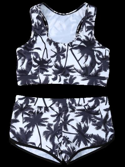 Palm Tree Print Boyshort Bikini - WHITE AND BLACK L Mobile