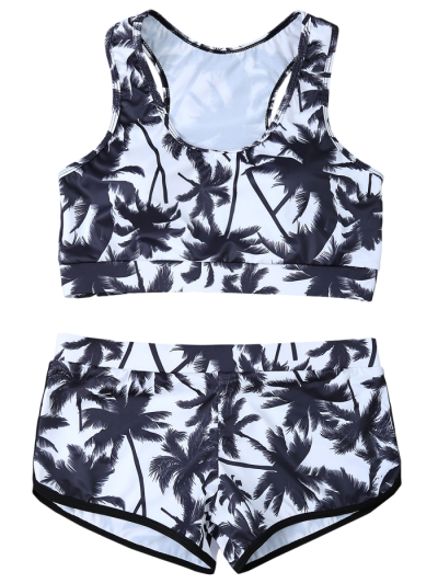 Palm Tree Print Boyshort Bikini - WHITE AND BLACK M Mobile
