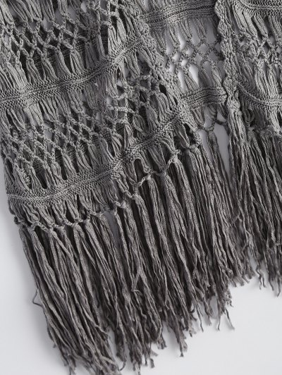 Cut Out Fringed Open Front Cardigan - GRAY ONE SIZE Mobile