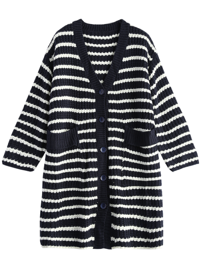 Striped V Neck Button Up Cardigan With Pockets - BLUE ONE SIZE Mobile