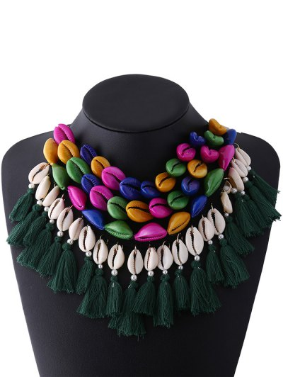 Ribbon Shell Tassel Necklace - COLORFUL  Mobile