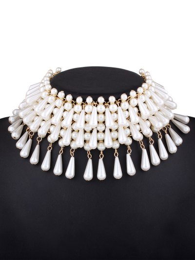 Teardrop Faux Pearl Layered Necklace - WHITE  Mobile