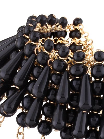 Teardrop Faux Pearl Layered Necklace - BLACK  Mobile