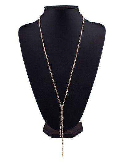 Rhinestoned Pendant Necklace - CHAMPAGNE  Mobile