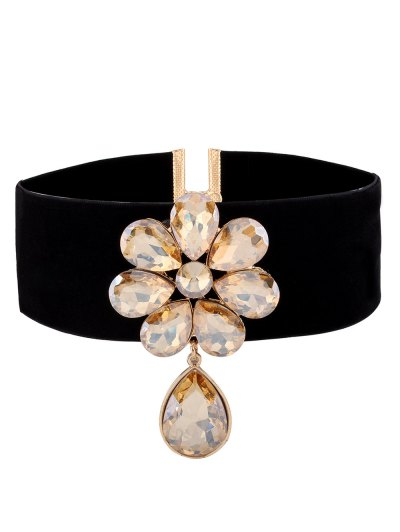 Velvet Rhinestone Floral Necklace - CHAMPAGNE  Mobile