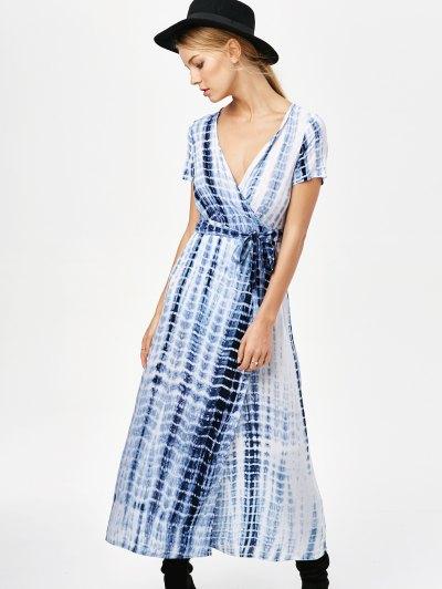 Tie-Dyed Short Sleeve Surplice Maxi Dress - DEEP BLUE 2XL Mobile