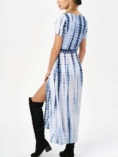 Tie-Dyed Short Sleeve Surplice Maxi Dress - DEEP BLUE XL Mobile