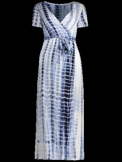 Tie-Dyed Short Sleeve Surplice Maxi Dress - DEEP BLUE M Mobile