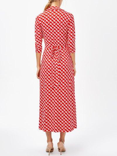 High Slit V Neck Retro Print Maxi Dress - RED L Mobile