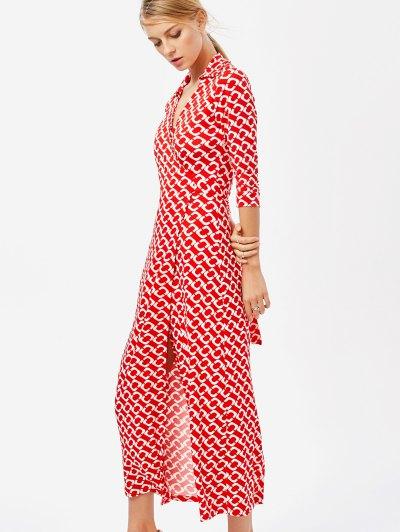 High Slit V Neck Retro Print Maxi Dress - RED M Mobile