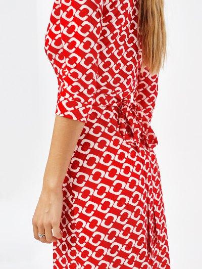 High Slit V Neck Retro Print Maxi Dress - RED S Mobile