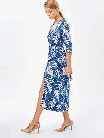 Printed Side Slit Surplice Maxi Dress - BLUE XL Mobile