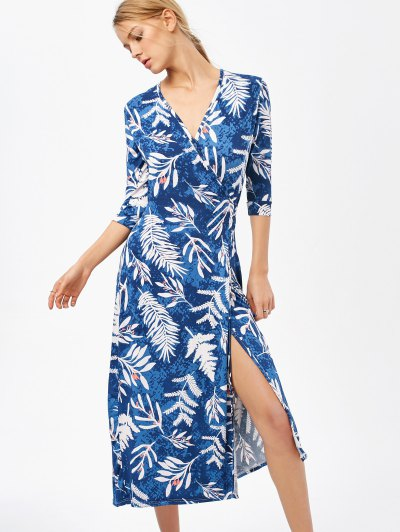 Printed Side Slit Surplice Maxi Dress - BLUE S Mobile
