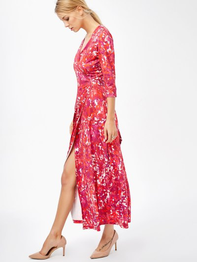 Printed High Slit Wrap Maxi Dress - RED XL Mobile