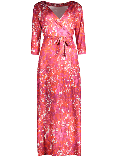 Printed High Slit Wrap Maxi Dress - RED M Mobile