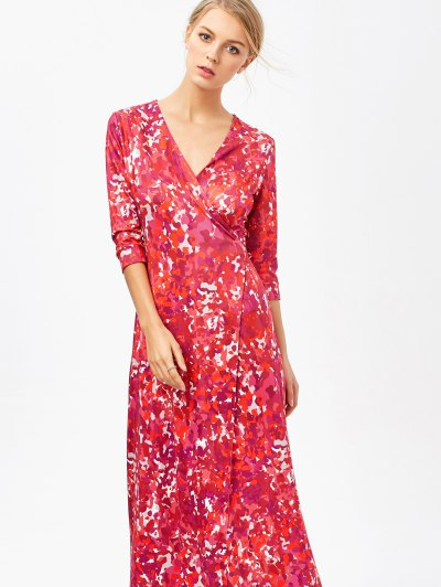 Printed High Slit Wrap Maxi Dress - RED S Mobile