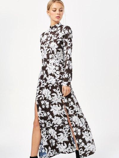 Printed Thigh Split Maxi Dress - WHITE AND BLACK XL Mobile