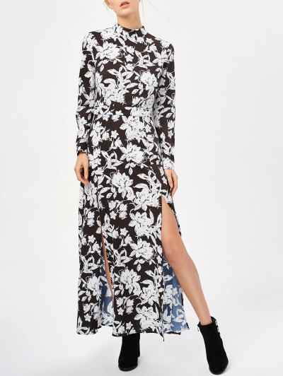 Printed Thigh Split Maxi Dress - WHITE AND BLACK M Mobile