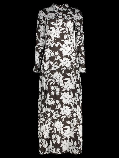 Printed Thigh Split Maxi Dress - WHITE AND BLACK 2XL Mobile