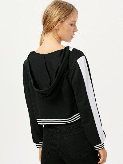 Lace Up V Neck Alien Cropped Hoodie - BLACK L Mobile