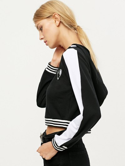 Lace Up V Neck Alien Cropped Hoodie - BLACK M Mobile