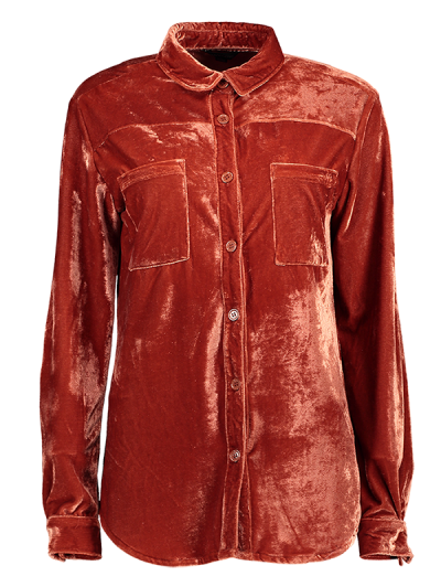 Cosy Long Sleeve Velour Shirt - JACINTH XL Mobile