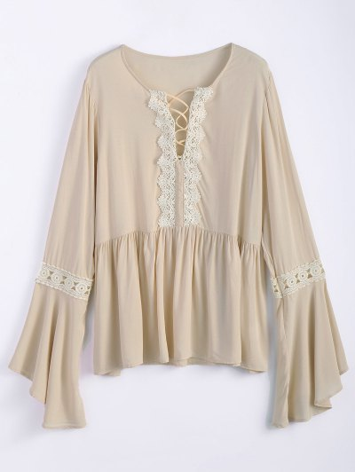 Bell Sleeve Smock Blouse - OFF-WHITE XL Mobile