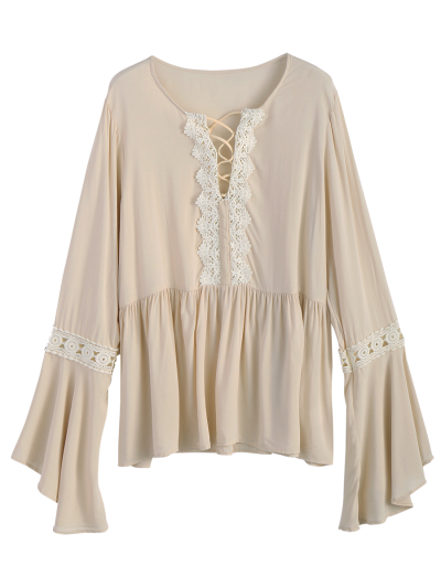 Bell Sleeve Smock Blouse - OFF-WHITE M Mobile