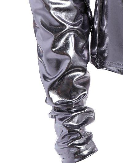 High Collar Metallic Color Top - SILVER XL Mobile