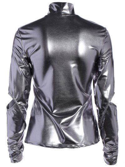 High Collar Metallic Color Top - SILVER L Mobile
