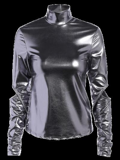 High Collar Metallic Color Top - SILVER M Mobile