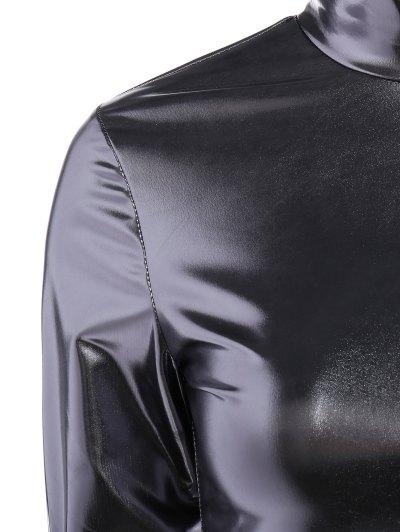 High Collar Metallic Color Top - SILVER S Mobile