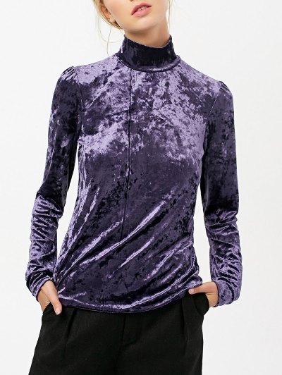 High Collar Long Sleeve Velvet Top - PURPLE 2XL Mobile