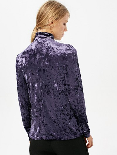 High Collar Long Sleeve Velvet Top - PURPLE XL Mobile